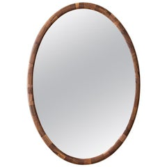 STACKED Walnut Oval Wall Mirror by Richard Haining, Available Now