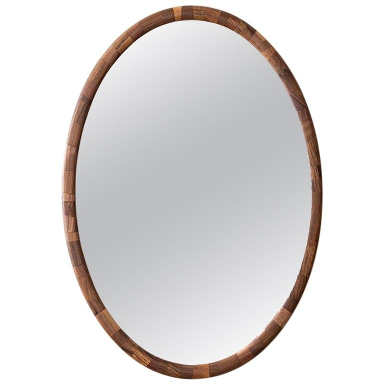 Contemporary STACKED Walnut Oval Wall Mirror by Richard Haining, Available Now For Sale