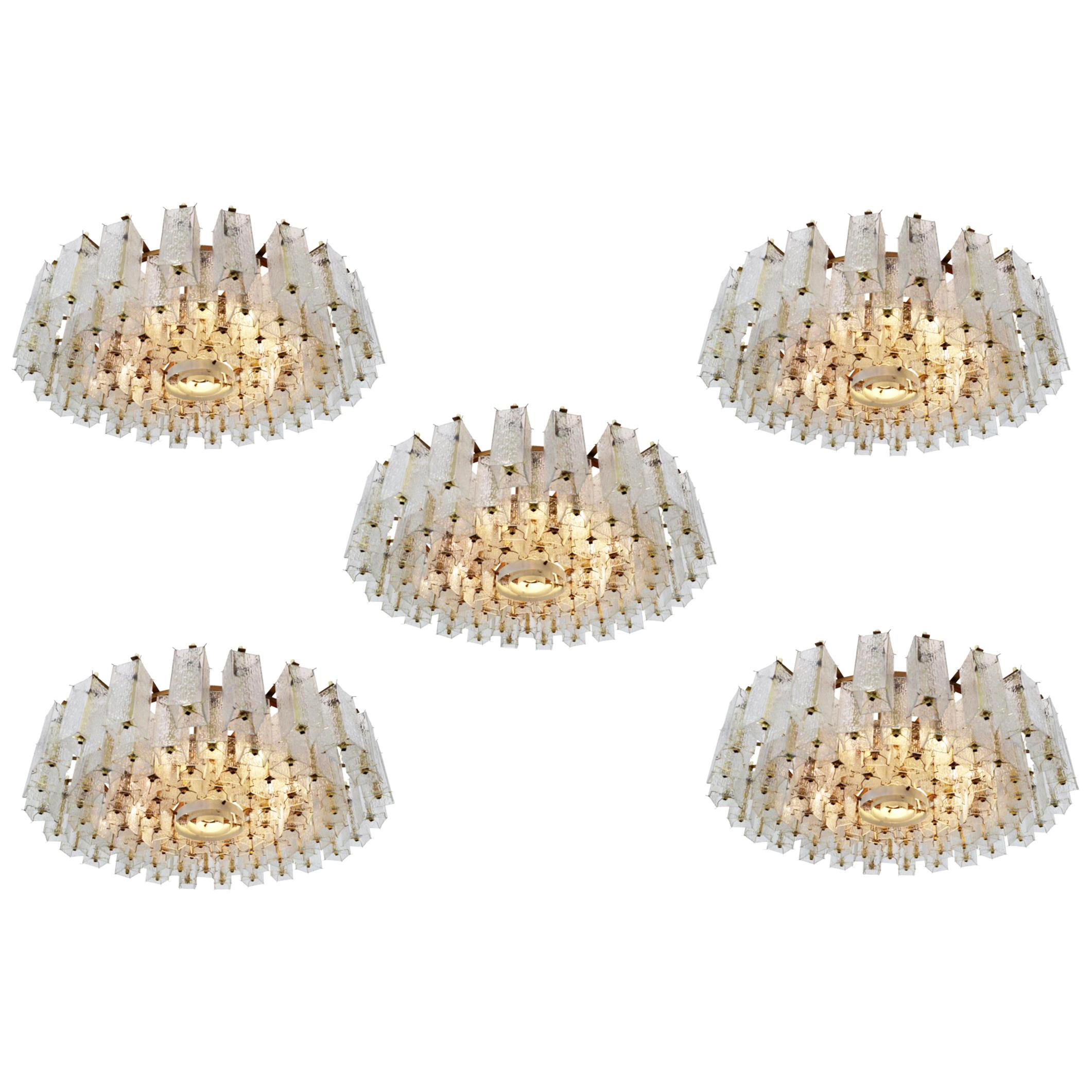 Extreme Large Midcentury Chandeliers in Structured Glass and Brass from Europe