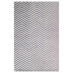 White Gray Contemporary Herringbone Wool rug 5x8