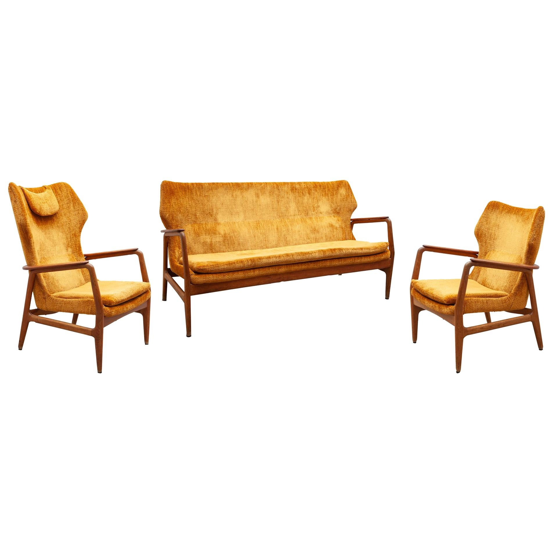 Lounge Chairs and Sofa by Aksel Bender Madsen for Bovenkamp, 1952