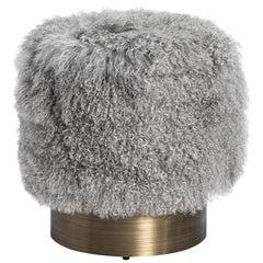 Long Curly Grey Sheepskin Pouf