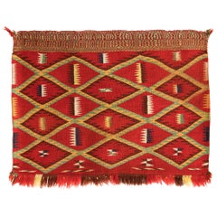 Antique Navajo Germantown Saddle Blanket, circa 1890, Eyedazzler Pattern