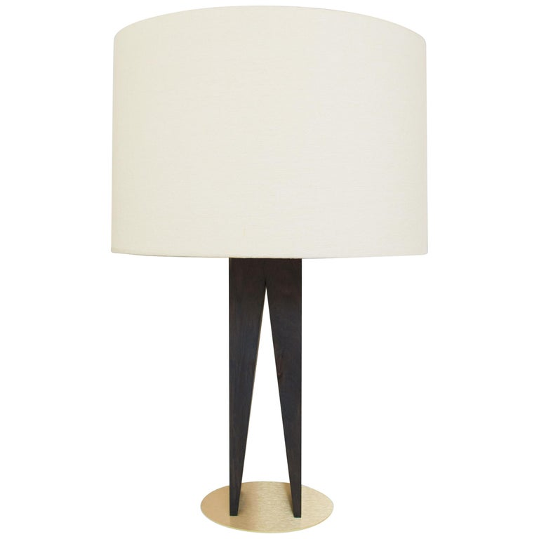 Contemporary V Table Lamp, Geometric Oak Base and Linen Shade For Sale