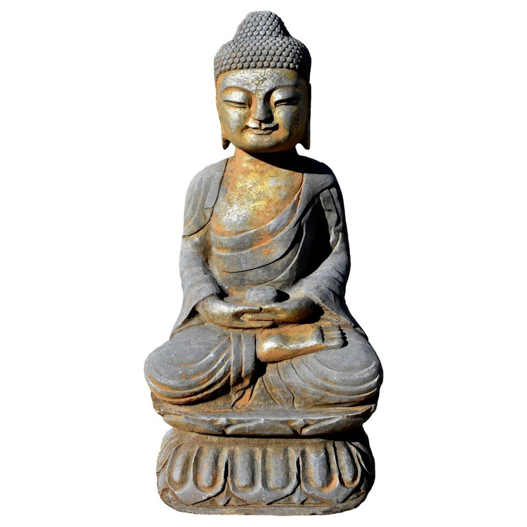 Solid Stone Buddha Statue Holding a Pearl Hand Carved For Sale