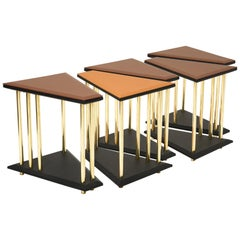 Stellar, Modular Side or Low Sofa Table with Leather Tops and Brass Legs