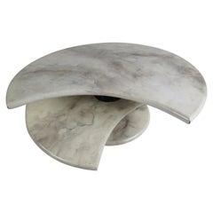 Impressive Mid-Century Modern Faux Marble Swivel Top Coffee Table