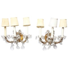 Hollywood Regency Maria Theresa Brass and Glass Sconces