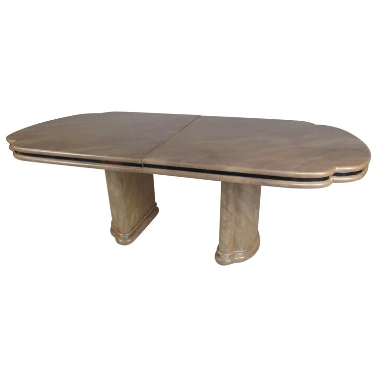 Mid-Century Modern Faux Marble Dining Table For Sale