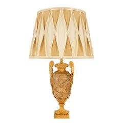 French 19th Century Louis XVI st. Alabastro Fiorito and Ormolu Lamp