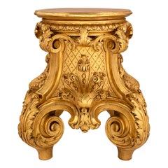 French 19th Century Louis XVI Style Giltwood Pedestal Column