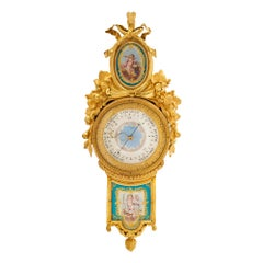 French 18th Century Ormolu and Sèvres Porcelain Barometer, Signed Giroux