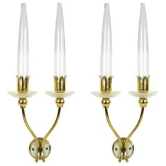 Pair of Brass & Glass 2-Lights 1950 Wall Fixtures by Angelo Lelii for Arredoluce