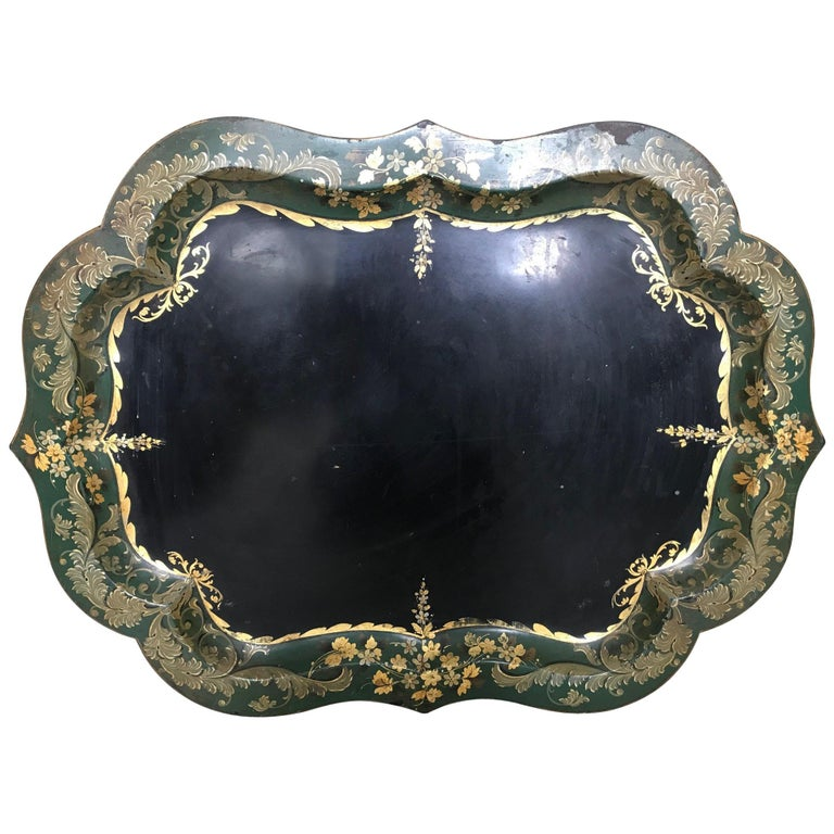 French 19th Century Large Tole Tray For Sale