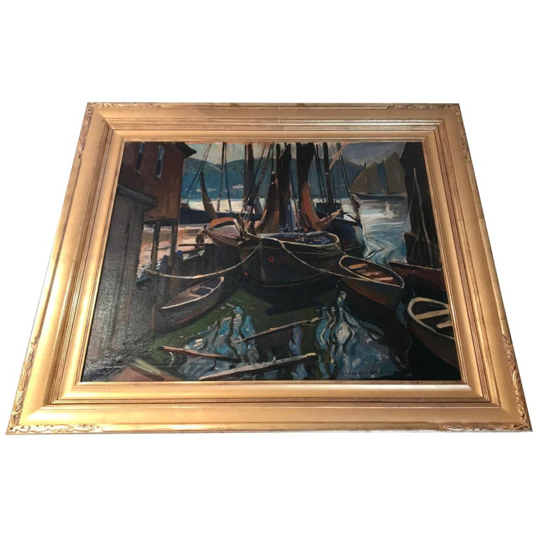 Seascape Painting Oil on Canvas by William Lester Stevens American Artist Sea For Sale