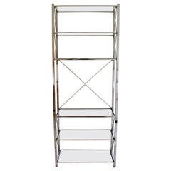 Mid-Century Modern Chrome and Glass Etagere 6 Shelves Milo Baughman, 1970s