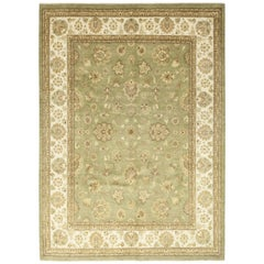 Green Floral Hand Knotted Oushak Style Area Rug
