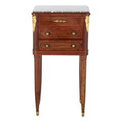 French Inlaid Mahogany Marble-Top Louis XVI-Style Nightstand