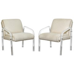 Mid-Century Modern Pair of Lucite Armchairs Charles Hollis Jones Hill Mfg, 1970s