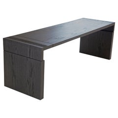 In Stock Wellesley Bench in Solid Black Oak by May Furniture