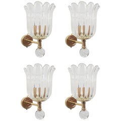 Two Pairs of Scalloped Sconces by Barovier e Toso