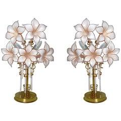 Pair of Murano Pink Lilly Sculptural Table Lamps Franco Luce Artglass Gilt Brass