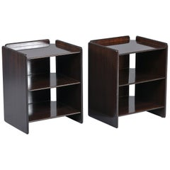 Pair of Dark Walnut Side Tables with Two Open Shelves