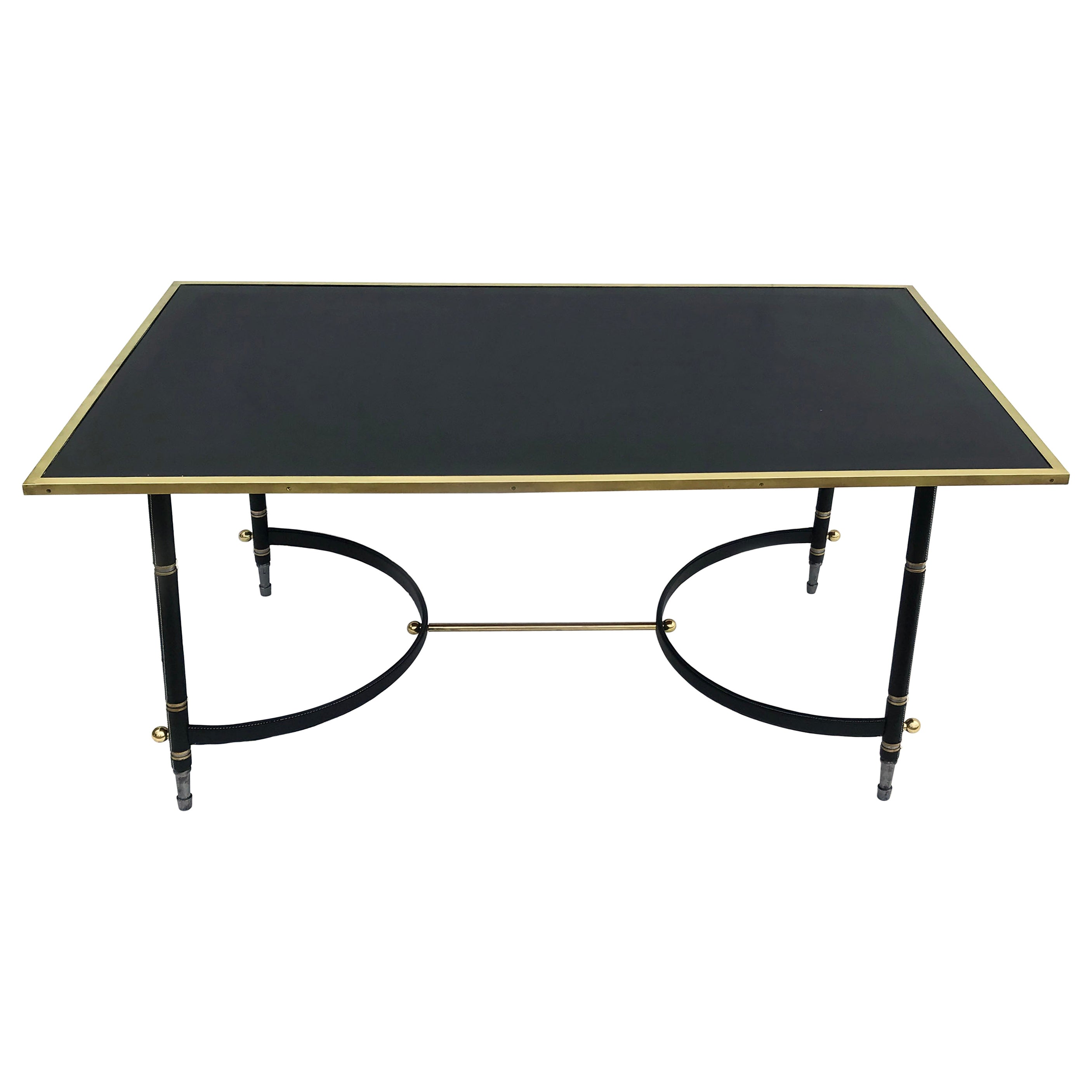 Jacques Adnet Art Deco  Brass, Steel & Leather Dining Table Or Desk France 1950