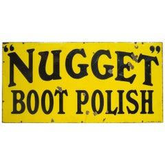 Enameled Nugget Boot Polish Sign, circa 1920-1950