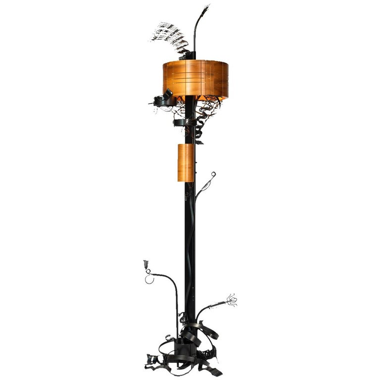 Brutalist Style Floor Lamp by Aswoon For Sale