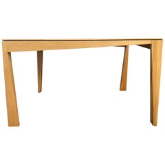 1980s Hennie de Jong Square Asymmetrical Leg Maple Square Dining Table