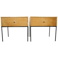 Midcentury Paul McCobb Single Drawer #1500 Nightstands Blonde Maple T Pulls