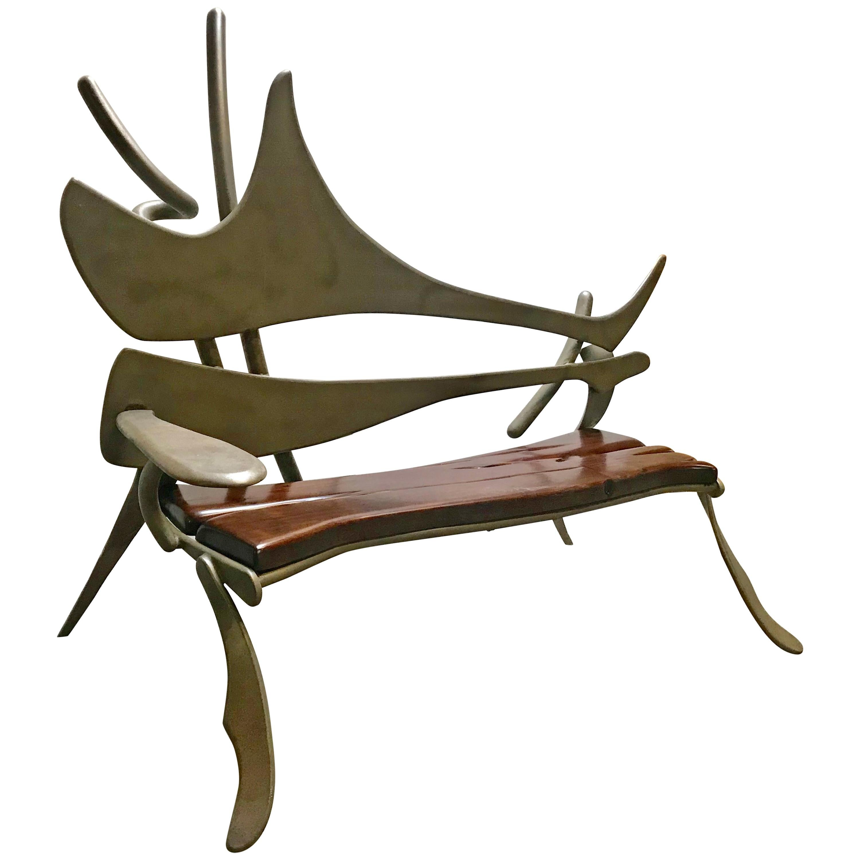Welded Steel and Black Walnut  Bench ,Sculpture After Albert Paley