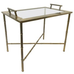 Aged Brass and Glass Faux Bamboo Tray Table by Mastercraft