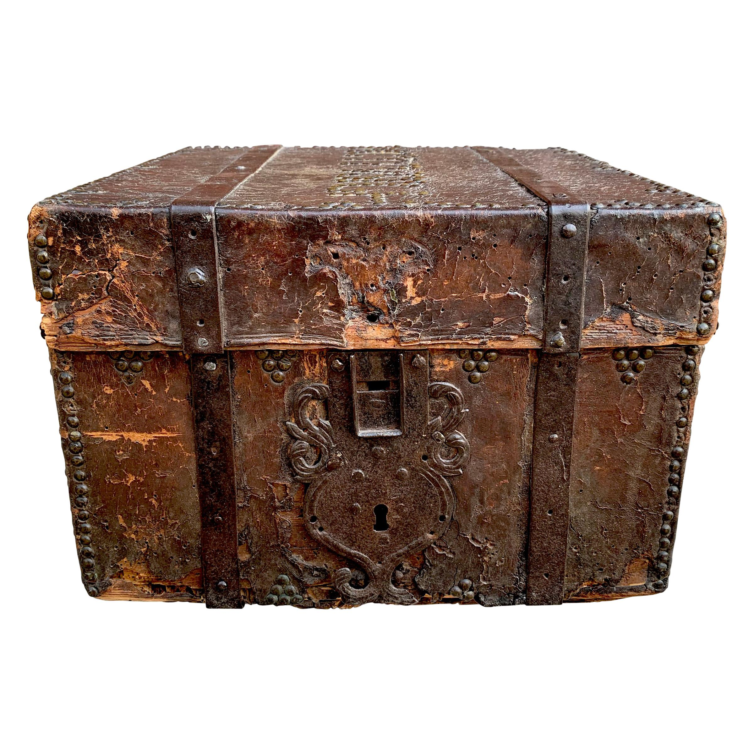 17th Century Italian Leather Lock Box