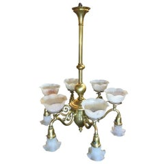 Late Victorian Cast Brass Transitional Six-Arm Gas and Electric Chandelier