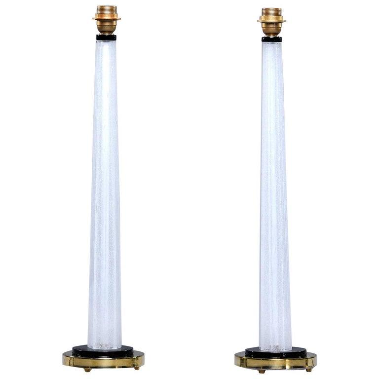 Pair of Tall Slender Seguso White Murano Glass Lamps For Sale