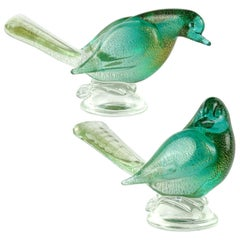 Archimede Seguso Murano Green Gold Flecks Italian Art Glass Dove Birds Figures