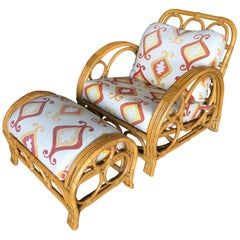 """Restored Three-Strand """"Circles and Speed"""" Rattan Lounge Chair w/ Ottoman, Chaise"""