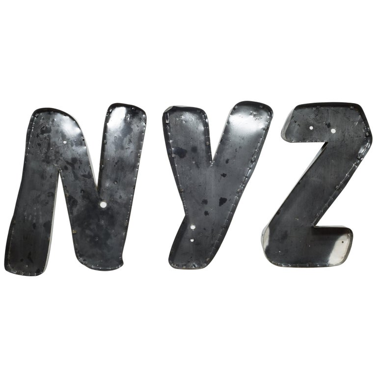 """Large Vintage Channel Letters """"NYZ"""", circa 1950s For Sale"""