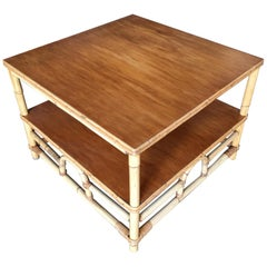 """Restored Two-Tier Rattan """"Center Horseshoe"""" Coffee Table with Mahogany Top"""