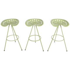 Set of Three Midcentury Tractor Seat Bar Stools, Restored