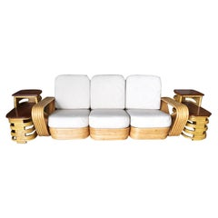 Restored Paul Frankl Six-Strand Sectional Sofa Living-Room Set with Side Tables