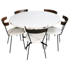 Midcentury Clifford Pascoe Dining Set 5 Chairs and Round Table White Vinyl Iron
