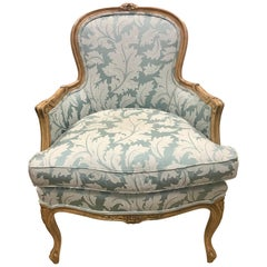 Carved French Louis XV Style Bergere Armchair Century Furniture