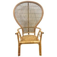 Mid-Century Modern Wicker Rattan Peacock Chair