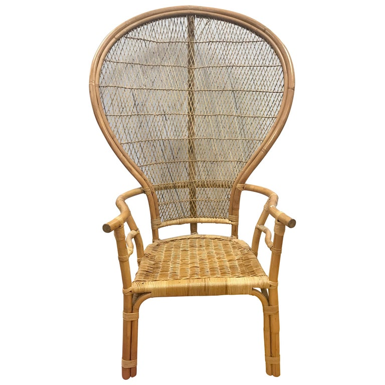 Mid Century Modern Wicker Rattan Peacock Chair For Sale At