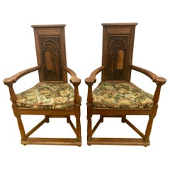 Antique French Gothic Armchairs Chairs with Original Tapestry Upholstery