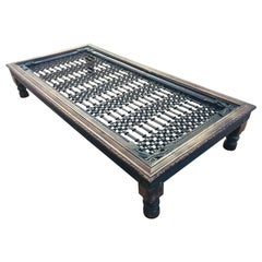 Teak Wood Large Coffee Table with Iron Inset Jali Work