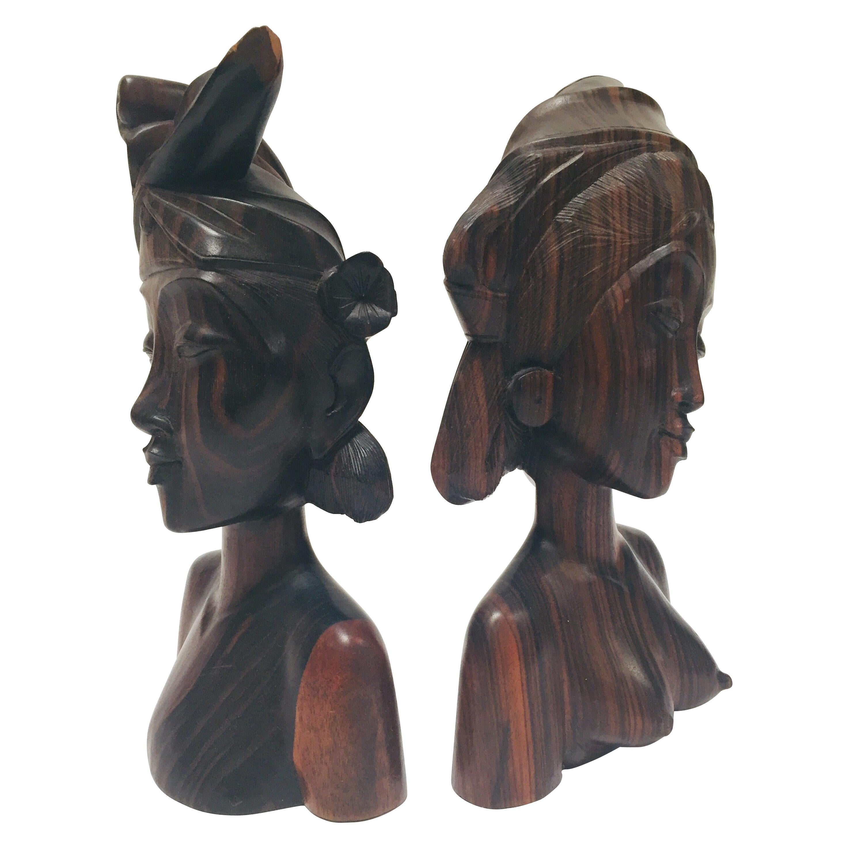 Hand Carved Wooden Balinese Busts Bookends